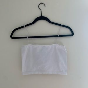 White Tube Crop Top with Seamless Straps